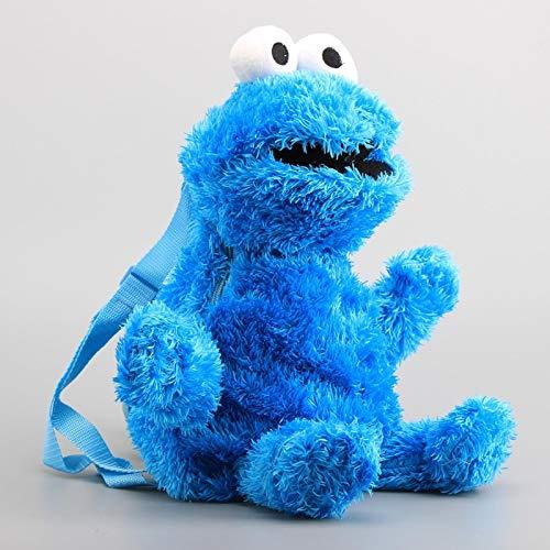 agzhu Mochila De Peluche De Barrio Sésamo Bolsa De Peluche De Monstruo De Galletas Azul 45 Cm, Bolsa para Niños Muñecos De Peluche Y Regalo para Niños