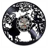 wtnhz Reloj de Pared con Disco de Vinilo LED Reloj de Pared de 12 Pulgadas Movimiento de Cuarzo con Disco de Vinilo Sala de Estar Diseño