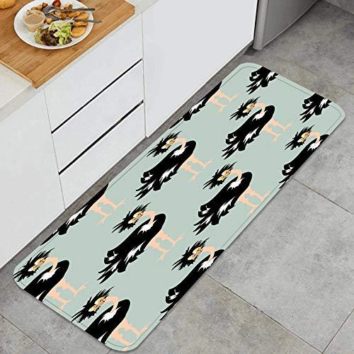 PUIO Juegos de alfombras de Cocina Multiusos,Avestruz Africana bebé Animal de Patrones sin Fisuras,Alfombrillas cómodas para Uso en el Piso de Cocina súper absorbentes y Antideslizantes