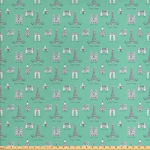 Ambesonne Notre Dame de Paris Fabric by The Yard, Frenchs and in Continuous Pattern, Decorative Fabric for Upholstery and Home Accents, 1 Yard, Seafoam White