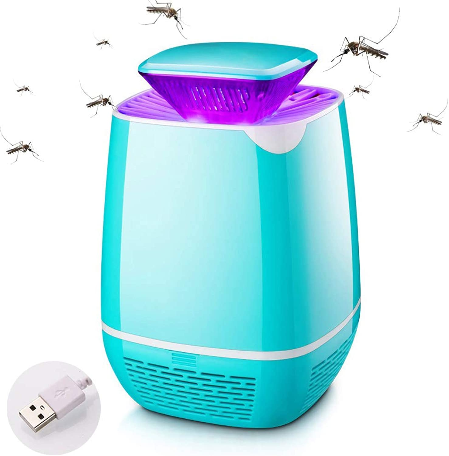 LED Mosquito Killer Lamp, USB Electronic Insect Killer,Portable Fly Killer Lamp for Indoor Outdoor Home Kitchen Garden,bluee