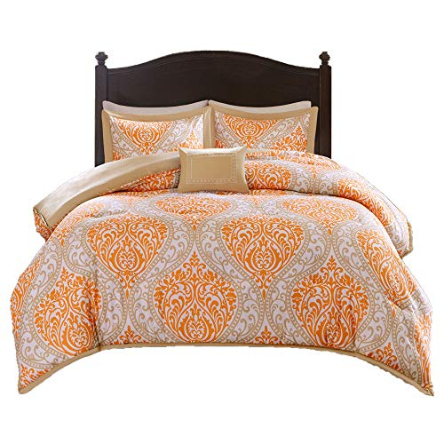 Comfort Spaces - Coco Comforter Set - 4 Piece - Orange and Taupe - Printed Damask Pattern - Full/Queen Size, Includes 1 Comforter, 2 Shams, 1 Decorative Pillow