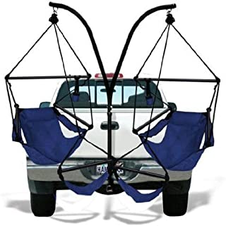 Hammaka Trailer Hitch Stand and 2 Blue Chairs Combo - Aluminum Dowels