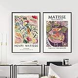 SXXRZA Estilo nórdico 2 Piezas 50x70cm sin Marco Cartel de exposición de Matisse Henri Matisse Pintura de pez Dorado Cuadro de Arte de Pared decoración del hogar