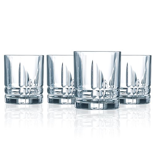 Luminarc N3576 Double Old Fashioned Drinking Glasses Parallels Drinkware, Short, Set of 4, Clear
