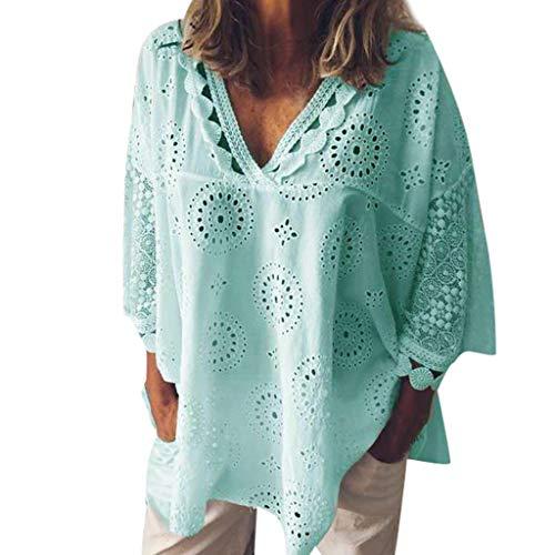 Frashing Mode Bluse Damen Kurzarm Bluse Mit V-Ausschnitt Elegant 3/4 Ärmel Weißes Hemd Langärmliges Hollow Out Spitzenhemd T-Shirt Shirt Chiffon Top Bluse S-5XL