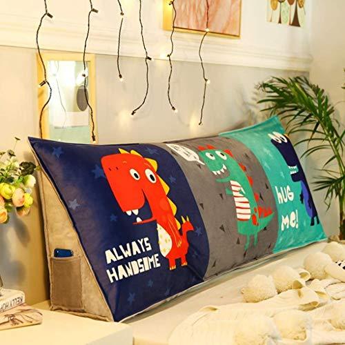 LFOZ Cojín de cuña para sofá cama, cojín triangular de lectura, gran respaldo, respaldo de cabecera, cojín con funda extraíble (color : R, tamaño: 90 x 24 x 45 cm)