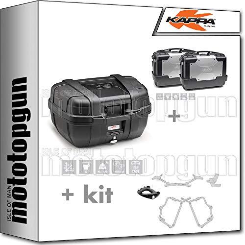 KAPPA KGR52N - Maletín con maleta lateral KGR33PACK2 y portaequipajes MONOKEY y portaequipajes lateral, compatible con Yamaha FZ6 S2 2011