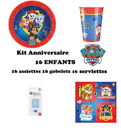 uni que Set Festa, Party, Compleanno Paw Patrol Decorativo Tavolo 48 Pezzi 16 Bambine (16 Piatti, 16 Bicchieri, 16 tovaglioli + 10 Candele magiche) Decorazione dei Bambini