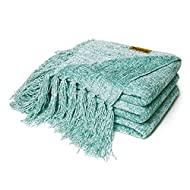 DOZZZ Fluffy Chenille Knitted Throw Blanket with Decorative Fringe for Home Décor Bed Sofa Couch Chair Aqua