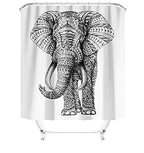 Elephant Shower Curtain Animal Wildlife Ethnic Indian Mandala Bathroom Curtain Set Black and White Vintage African Tribal Bath Curtain Decor Fabric Shower Curtain with Hooks