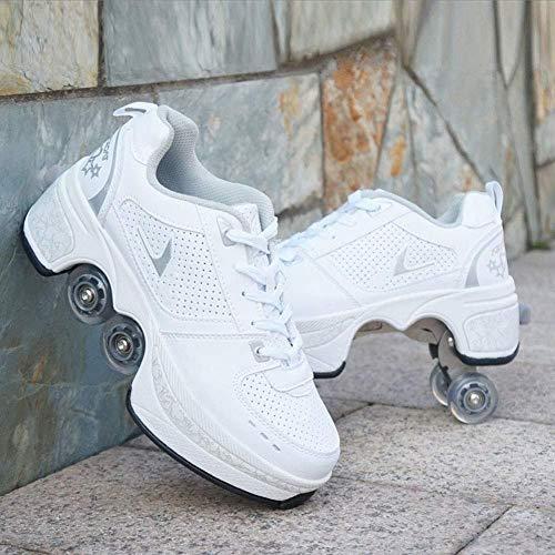 Tengda Deformation Roller Schuhe - Erwachsene Kinder Automatische Wanderschuhe Invisible Pulley Schuhe Skates Mit Zweireihigen Deform Wheel,C-38