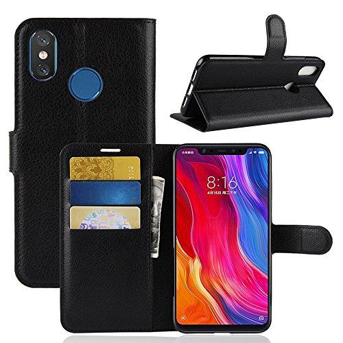 """Capa Capinha Carteira Flip Wallet Case 360 Xiaomi Mi 8 De Tela 6.21"""" Couro Sintético Mi8 Pronta Entrega (Preto)"""