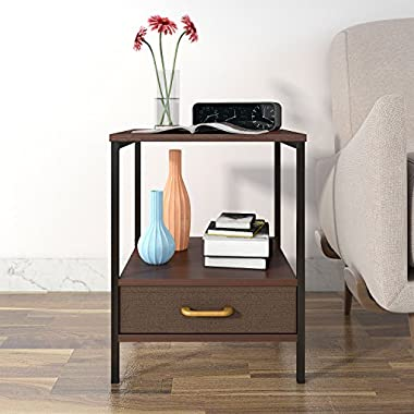 Lifewit 2-Tier Nightstand with Drawer,Side Table End Table, Coffee Table for Bedroom Living Room, Modern Collection,Brown