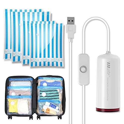 VMstr Borsa sottovuoto da viaggio con mini pompa per vuoto USB, 4 PEZZI Borse salvaspazio di medie e piccole dimensioni per viaggiare