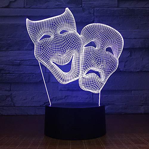 Zcmzcm Veilleuse 3D Comédie Masque Chambre Décoration Coloré Night Light Touch Télécommande Cadeau Led 3D Lampe Amis Cadeau Drop Shipping