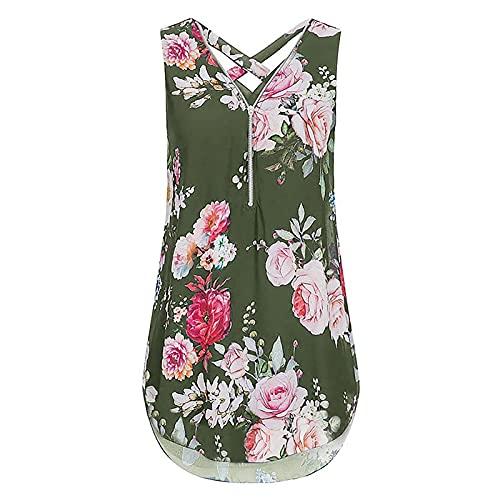 Blusa para mujer con estampado de rosas de peonías, sin mangas, para verano, con cremallera y cuello en V, verde, XL