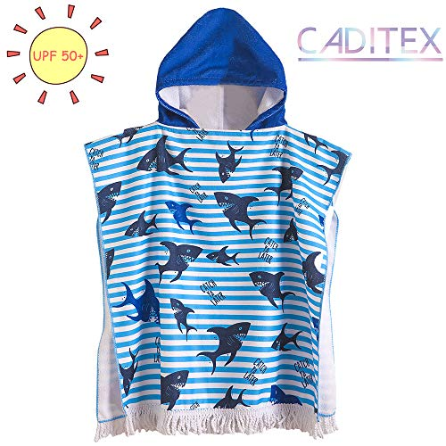 CADITEX Kids Beach Bath Towels for Age 2-7 Years - Swim Pool Coverup Poncho Hooded Towels for Toddlers Girls Boys Cartoon Animal(1-Black Shake)