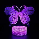 3D Ilusión Plataforma Luces de Noche Mariposa 3D Lámpara Led Luz de Noche Navidad Regalo Decorativo Juguetes de Dibujos Animados Luminaria Batería USB