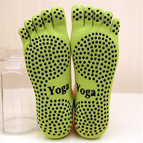 VIWIV Frauen Yoga Socken, rutschfeste Atmungsaktive Baumwolle Fünf-Finger-Socken, Geeignet Für Gym Indoor Sports Pilates Yoga Tanzen Ballett Socken (3 Paar),Grün