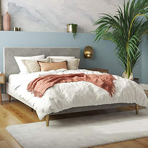 Mr. Kate Daphne Upholstered Bed with Headboard and Modern Platform Frame, Queen, Light Gray Velvet