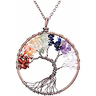 Yinew Gemstone 7 Chakra Healing Crystal Stone Pendant Necklace Copper Wire Wrapped Jewelry for Women