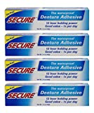 Secure Waterproof Denture Adhesive - Zinc Free - Extra Strong Hold For Upper, Lower or Par...