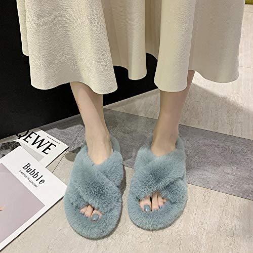 HUSHUI Fluffy Ladies Slippers,Open toe anti-skating cross slippers, wear fashion thick bottom cotton-blue_5.5,Faux Fur Open Toe Memory Foam Slipper