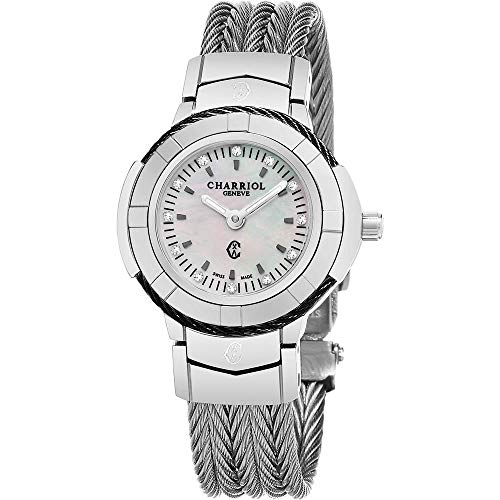 Charriol Women's CE426SB.640.010 'Celtic' Mother of Pearl Diamond Dial Stainless Steel Swiss Made Quartz Watch