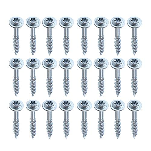 Tornillos - 100 tornillos multiusos de 1-1/4'Tornillos de acero al carbono recubiertos de zinc Juego de surtido Tornillos autorroscantes de rosca gruesa para corcho, madera contrachapada y tableros d