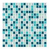 decalmile 10 Piezas 3D Adesivi per Piastrelle 30,5cm x 30,5cm Blu Mosaico Marmo Mattonelle Adesive Autoadesivo Decorazione Cucina Bagno