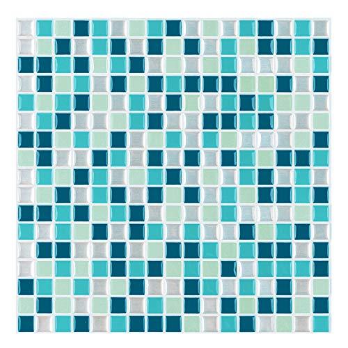 decalmile 10 Piezas 3D Azulejos Adhesivos 30,5cm x 30,5cm Azul Mosaico Mármol Pegatinas de Azulejos Autoadhesivo Cocina Baño Decoración