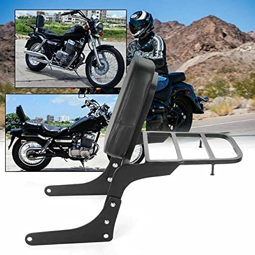 Promise Faster Compatible Motorcycle Sissy Bar Backrest + Luggage Rack Pad Compatible For Honda CA250 Rebel 250 CMX250 Heavt-Duty Black