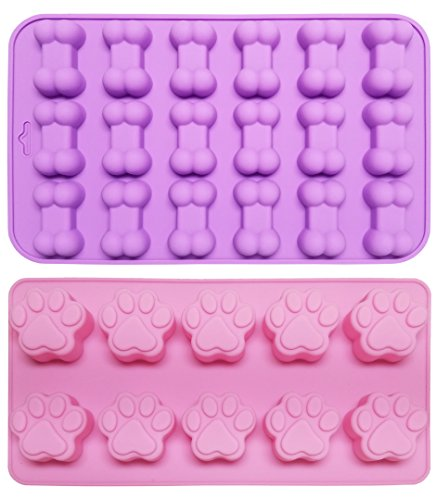 TYH Supplies Silicone Chocolate Baking Mold - 2pcs 28 Cavity Dog Bone and Paw Molds for Puppy Treats, Ice Cubes, Biscuits and Candies