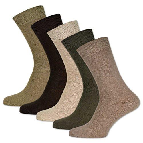 10 Paar Socken 100% Baumwolle Damen & Herren ohne Naht und ohne Gummidruck (43-46, Beige)