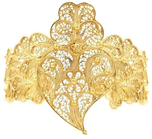 Casa Padrino Brazalete de Lujo para Damas Oro - Pulsera de Plata esterlina bañada en Oro Hecha a Mano - Joyería Elegante para Damas - Joyería para Brazo de Damas - Colección de Lujo
