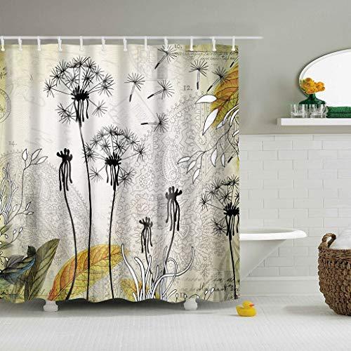 XCBN Árbol Plantas Tropicales Pantalla de baño Impermeable con Ganchos Cortinas de Ducha Cortina de baño para decoración de baño A30 180x200cm