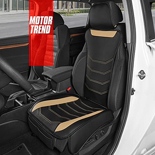 Motor Trend LuxeFit Beige Faux Leather Car Seat Cover for Front Seats, 1 Piece – Universal Fit...