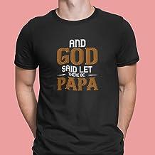 """T-Shirt unisex maglietta di colore nero tema papà""""God Said Let There Be Papa"""""""