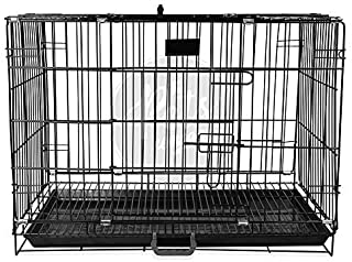 PSK PET MART 24 Inch Double Door Folding Black Metal Dog Cage with Paw Protector, for Small Dogs and Puppies, Small