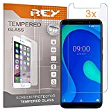 REY 3X Protector de Pantalla para WIKO Y80, Cristal Vidrio Templado Premium