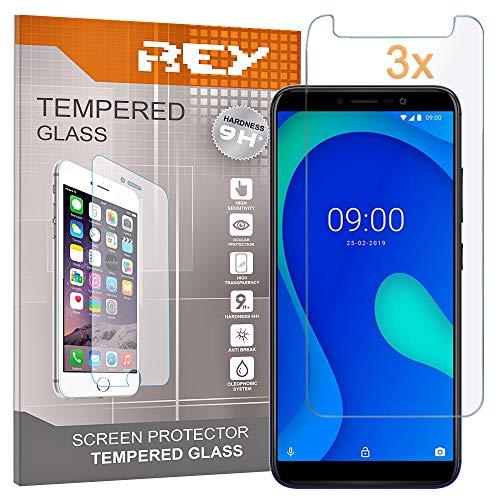 REY Pack 3X Panzerglas Schutzfolie für WIKO Y80, Bildschirmschutzfolie 9H+ Festigkeit, Anti-Kratzen, Anti-Öl
