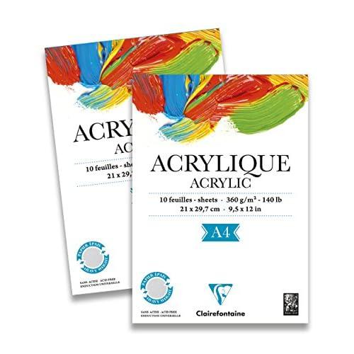Clairefontaine 96308C Blocco Acrilico, A4, 10 Fogli, Multicolore