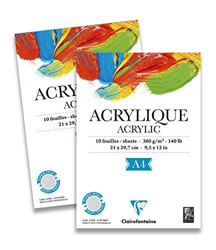 Clairefontaine 96308C Acrylique Acrylpapier Block (verleimt, 10 Blätter, 360 g, speziell für Acrylfarben und Gouache geeignet, DIN A4, 21 x 29,7 cm) weiß