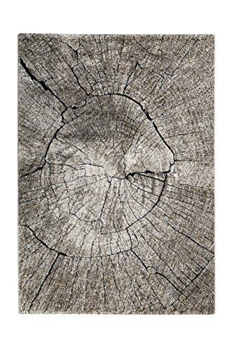 Homie Living I Moderner Kurzflor Designer Teppich in pflegeleichter Holzoptik I Black Forest (80 x 150 cm, Beige Braun Schwarz)
