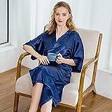 XRQ Toma De Kimono Largo De Mujer Robe De Seda Vestido De Dormir Satén Pijamas Albornoz,Azul,L