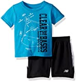 New Balance Boys' Toddler Athletic Tee and Short Set, Maldives/Black, 3T