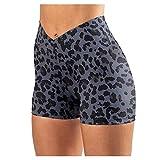 SHOBDW Pantalones Cortos Mujer Leopardo Estampados Cintura Alta Push Up Deportivas Elásticos Pantalones Deportivos Anticeluliticos Fitness de Verano Liquidación Venta(Armada,S)