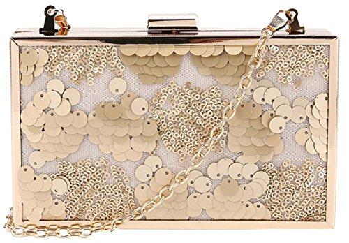 kukubird Kat Sequin Detail Box Clutch Bag with Dustbag - Gold