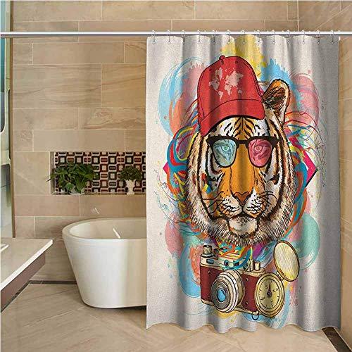 Cortina de Ducha para niños Animal Hipster Rapper Tigre con Gafas de Sol Sombrero y cámara Artista Hippie Animal Comic Print Multicolor